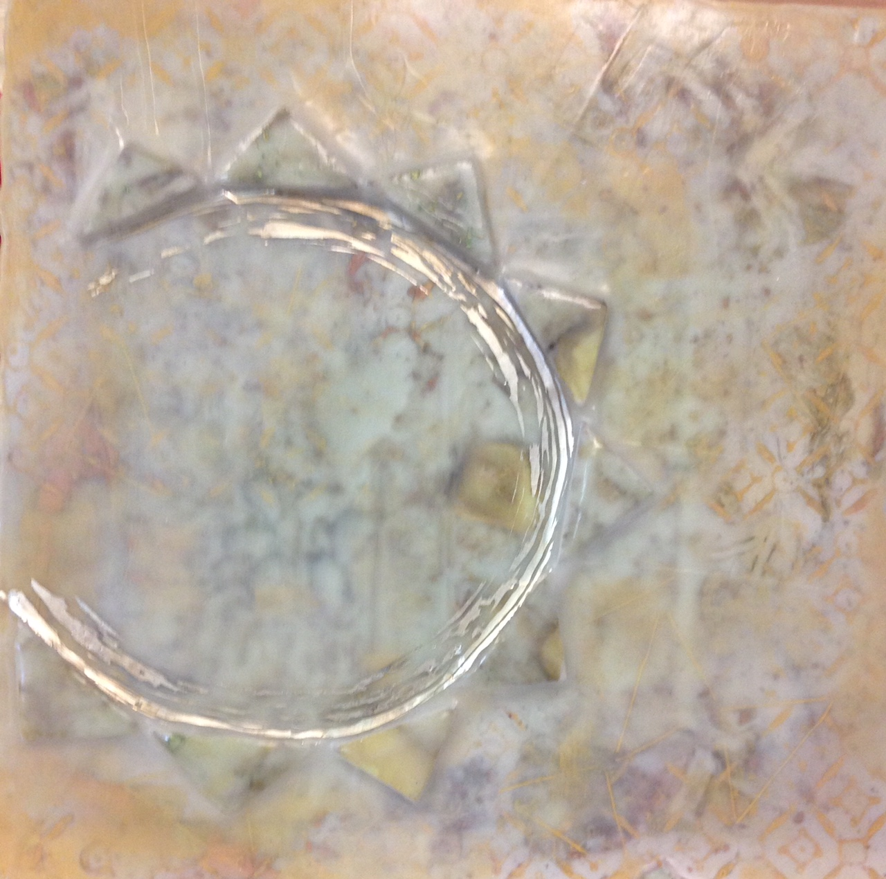 Lyre Series 14x14 Encaustic, 12k white gold leaf, silk on panel